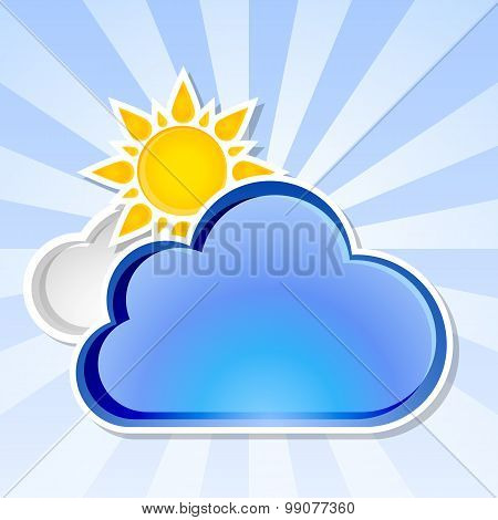 Clouds Background With Sun, Vector Illustration