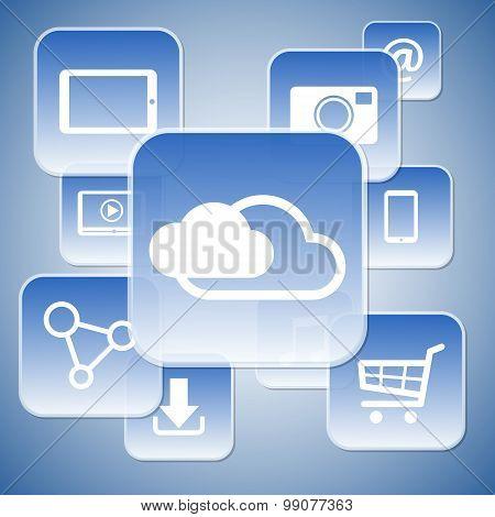 Futuristic High Tech Cloud Computing Menu Concept, Vector Illustration