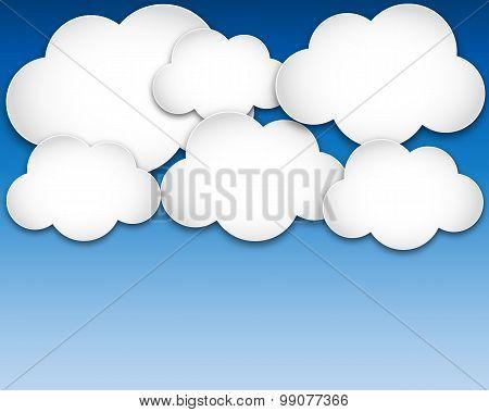 Paper Clouds Over Blue Sky. Vector Illustration