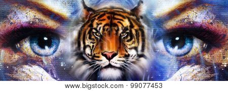 Goddess Woman in space with light stars. With tiger