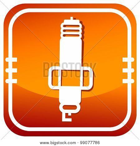 Sparkplug Single Orange Icon.