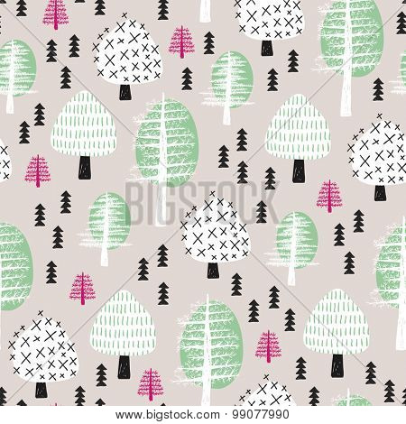 Seamless scandinavian style illustration forest tree christmas theme background mint and coral pattern in vector