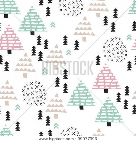 Seamless scandinavian style illustration forest tree christmas theme background soft blue pink pattern in vector
