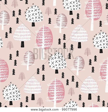 Seamless scandinavian style illustration forest tree christmas theme background soft pastel powder pink pattern in vector