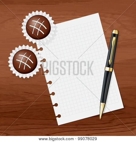 Chocolate Sweets And Sheet With Space For Your Text. Vector