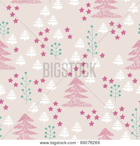 Seamless scandinavian style illustration forest tree christmas theme background pastel pink and mint green pattern in vector
