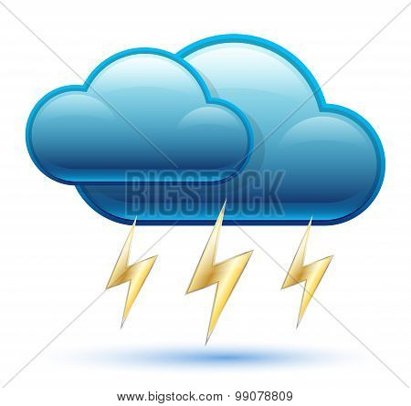 Glossy Cloud Icon With Lightning.