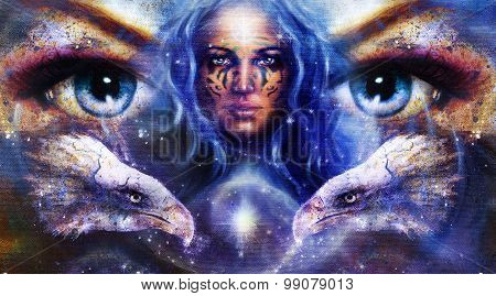 Goddess Woman with ornamental tattoo on face,  in space and light stars with eagles head, eyes woman
