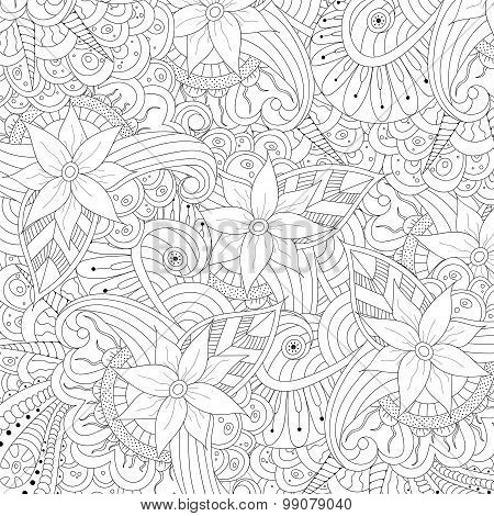 Abstract floral zentangle background.