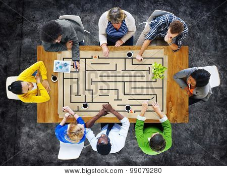Problem Solving Maze Solution People Smart Thinking Teamwork Meeting Concept