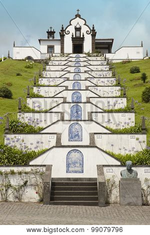 Traditional Portuguese Chapel In Sao Miguel, Azores, Portugal.