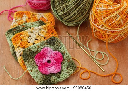 Handmade Colorful Crochet Granny Afghan Square
