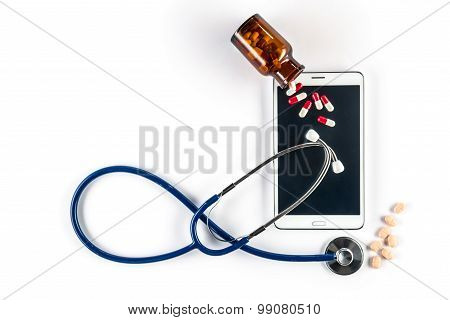 Pills And Stethoscope With Tablet, Touch Screen