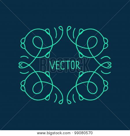 Hand drwan emblem abstract template Elegant lineart logo outline elegant calligraphic monogram.