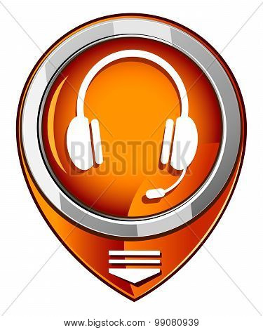 Vector Orange Pointer Headset Web Icon Design Element.