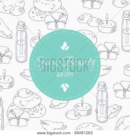 Aromaterapy Outline Background With Place For Trext In Vector