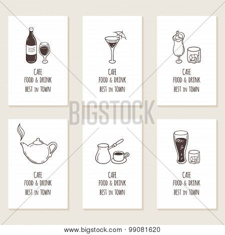 Business Cards Set With Outline Hand Drawn Drinks. Retro Style Background