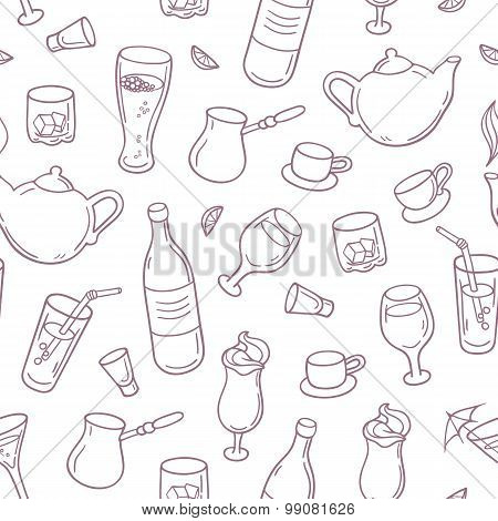 Seamless Pattern With Outline Style Drinks In Vector. Beverages Background For Bar, Menu Or Cafe Des