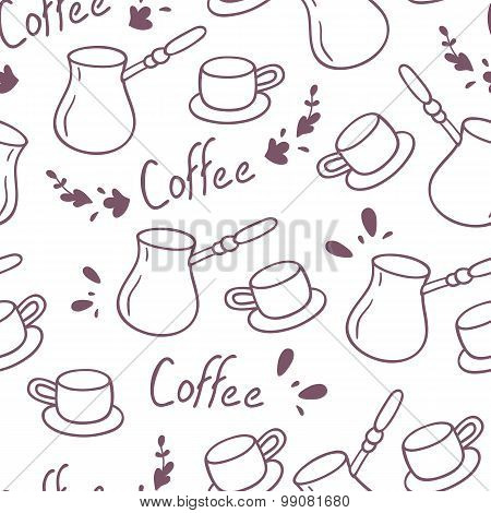 Doodle Coffee Seamless Pattern With Lettering.hand Drawn Background