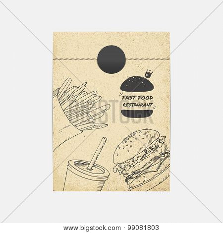 Kraft Paper Takeaway Bag Mockup In Vector. Sketched Illustration With Fast Food. Branding Template