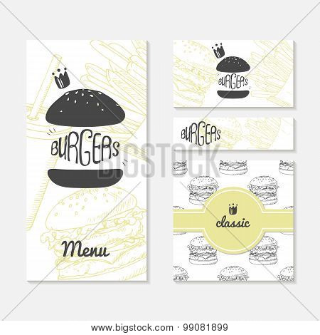 Set Of Cards With Sketched Burger. Fast Food Branding. Menu, Business Card, Banner, Wrapping Paper
