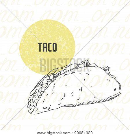 Illustration Of Hand Drawn Taco