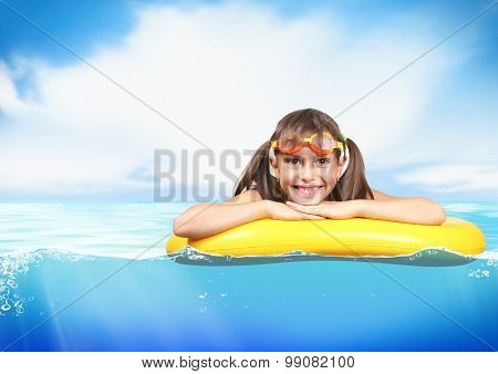 Funny Little Girl With Diving Glasses Floating Inflatable Ring At Sea, Resort Concept, With Copy-spa