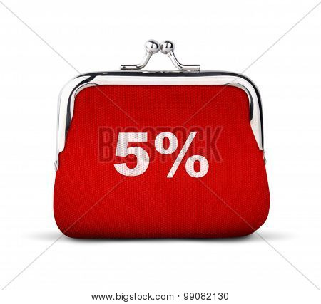 Red Purse, Wallet With Number 5% Isolated On White, Discount Concept
