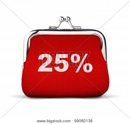 Red Purse, Wallet With Number 25% Isolated On White, Discount Concept