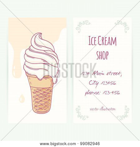 Business Card Template With Hand Drawn Ice Cream Sundae In Waffle Cone And Drops
