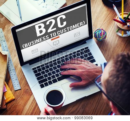 Business To Customer Consumer Commerce Contact Concept