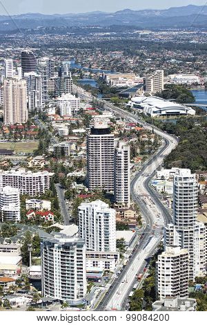 Aerial view of the Gold Coast light rail corridor