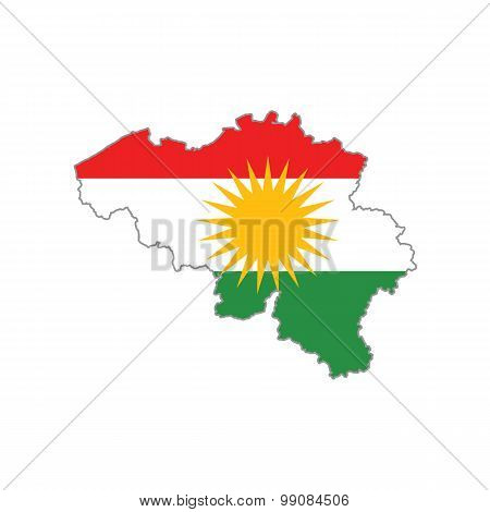 Map flag of Belgium - Kurdistan. Kurds in Belgium