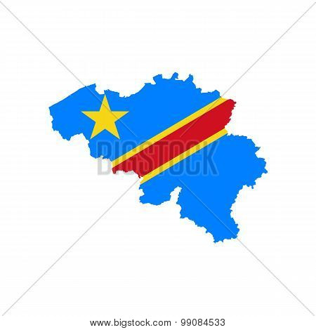 Map flag of Belgium - D.R.Kongo. Congolese in Belgium