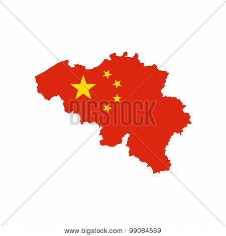 Map flag of Belgium - China. Chinese in Belgium
