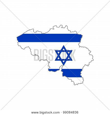 Map flag of Belgium - Israel. Jews in Belgium