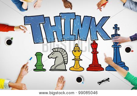 Think Ideas Analysis Smart Chess Competition Concept