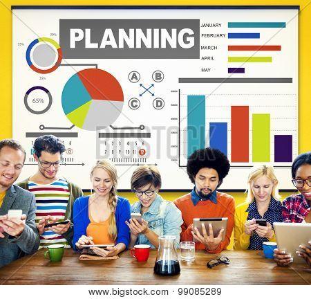 Planning Bar Graph Data Development Plan Strategy Concept