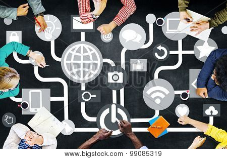 Connecting Internet Online Social Media Social Network Concept
