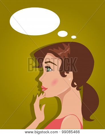 Young Woman Makes A Choice. Vector Illustration