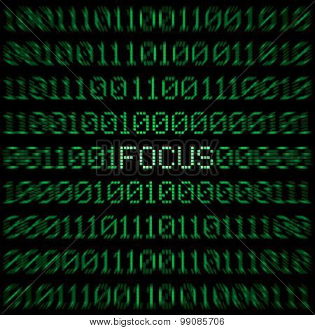 Focus word in the center of a green text block