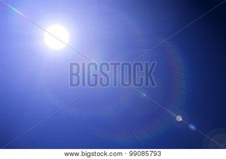 Shining sun on clear blue sky