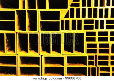 Abstract Metal Square Block Dye In Yellow