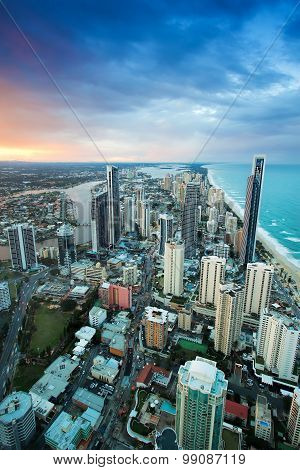 View of Surfers Paradise, Gold Coast as seen from Q1