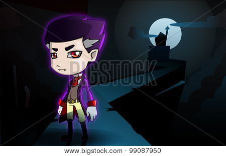 Dracula Cartoon - Count Draculas Standing on Path To Castle