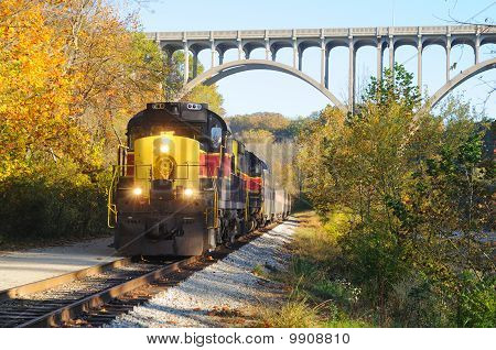 Train Below Bridge