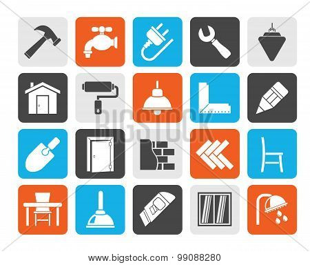 Silhouette Building and home renovation icons