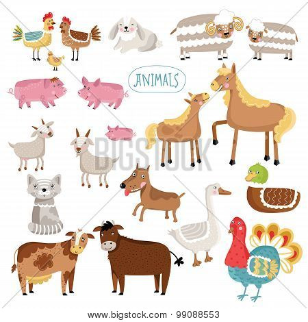 Vector illustration of farm animals.