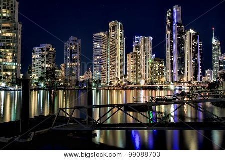 Reflection of Surfers Paradise apartments at night, Gold Coast Australia