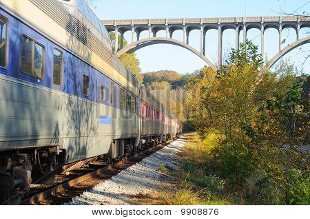 Passenger Train And Bridge